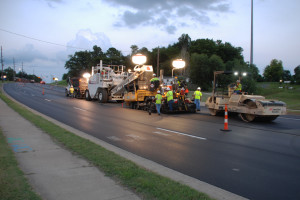 US 60 Paving at Night in Henderson, KY